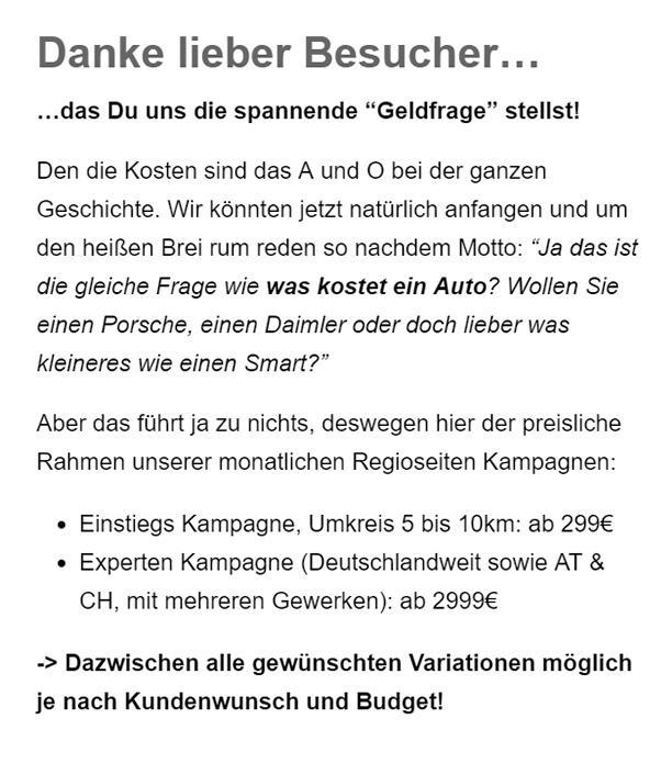 Onlinemarketing Budget in Aumühle